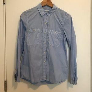 Madewell   Washed Cotton Boyfriend Shirt - Blue